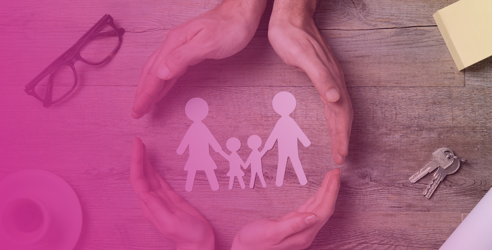 A paper family depicting care for a blended family
