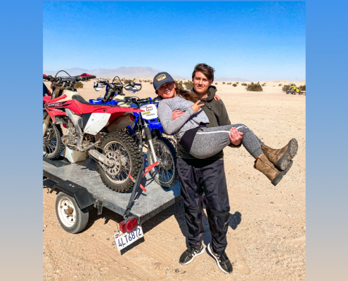 blended family dirt biking together